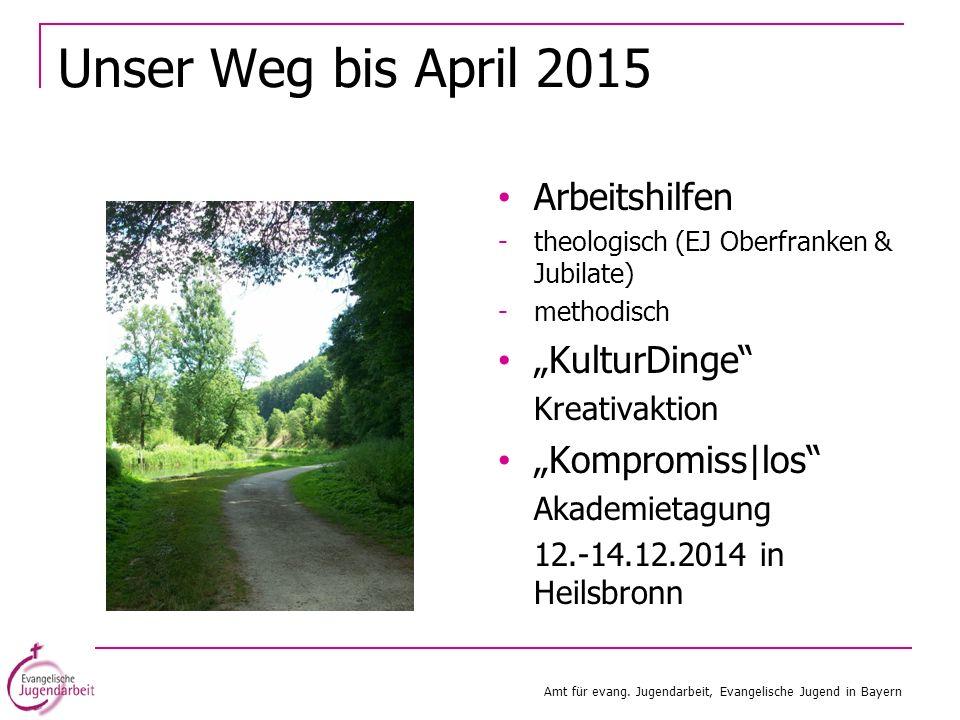 Unser Weg bis April 2015 Arbeitshilfen -theologisch (EJ Oberfranken & Jubilate) -methodisch KulturDinge Kreativaktion Kompromiss|los Akademietagung 12