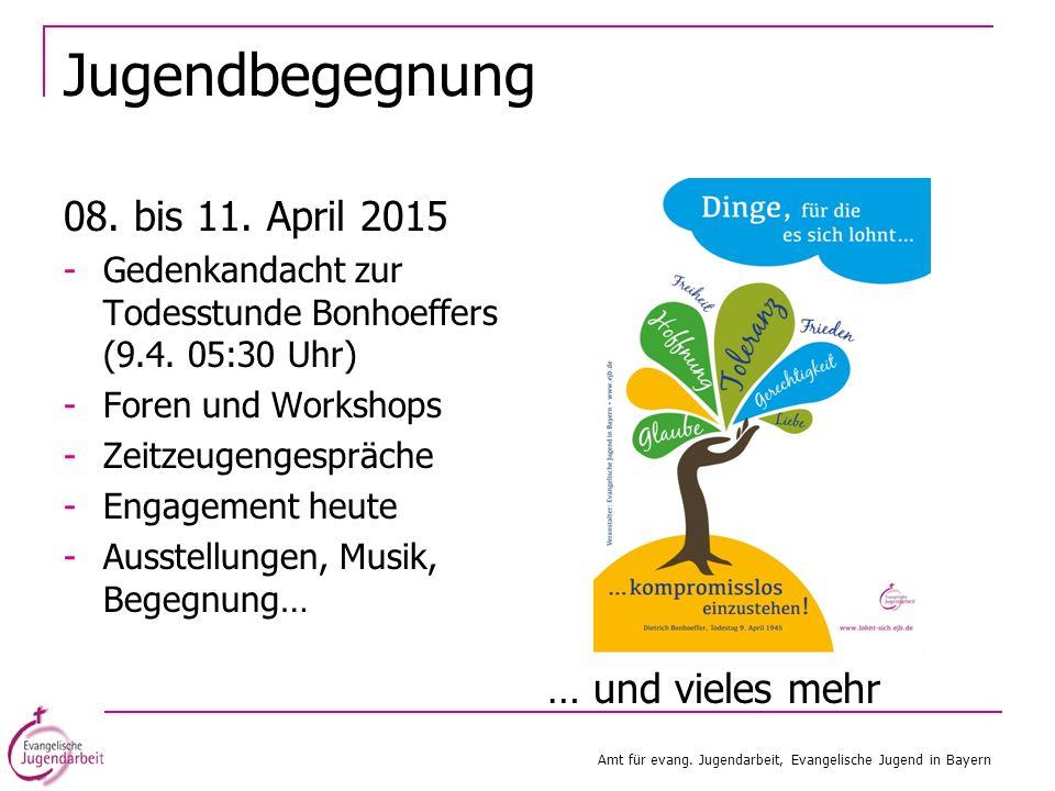 Jugendbegegnung 08. bis 11. April 2015 -Gedenkandacht zur Todesstunde Bonhoeffers (9.4. 05:30 Uhr) -Foren und Workshops -Zeitzeugengespräche -Engageme
