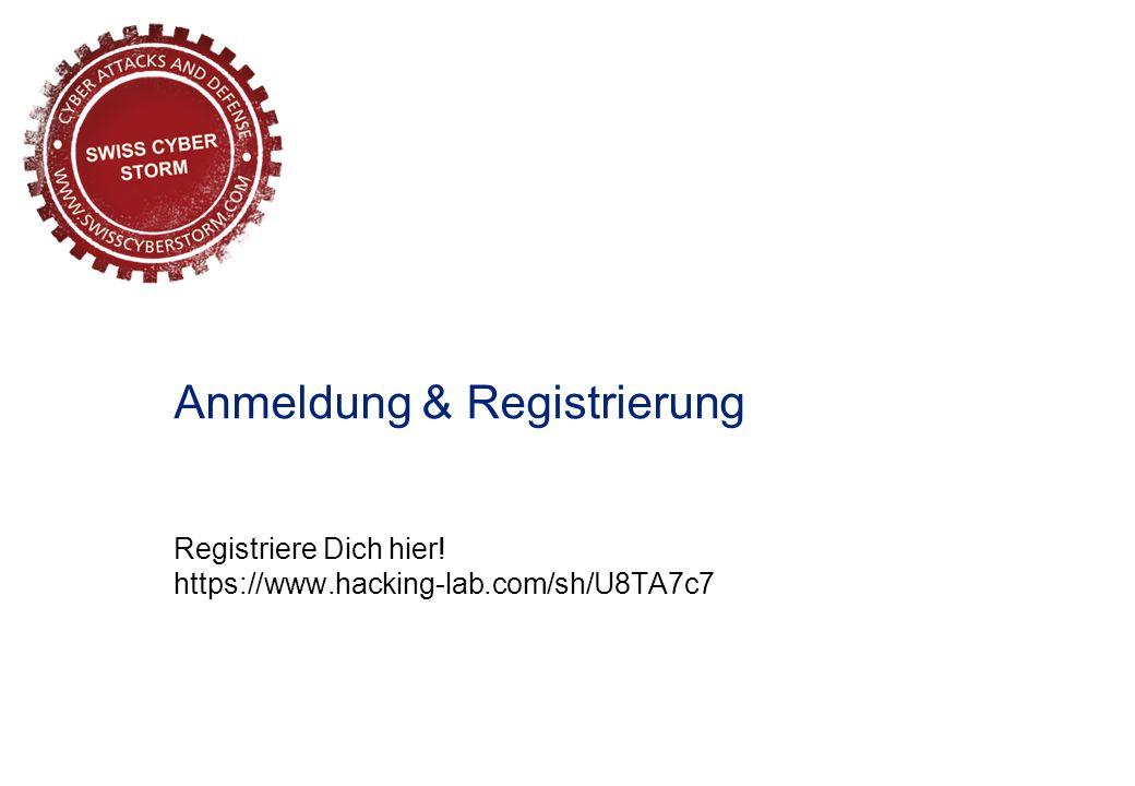 Registriere Dich hier! https://www.hacking-lab.com/sh/U8TA7c7 Anmeldung & Registrierung