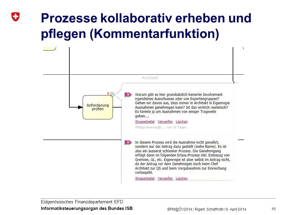 10 Eidgenössisches Finanzdepartement EFD Informatiksteuerungsorgan des Bundes ISB Prozesse kollaborativ erheben und pflegen (Kommentarfunktion) BPM@ÖV