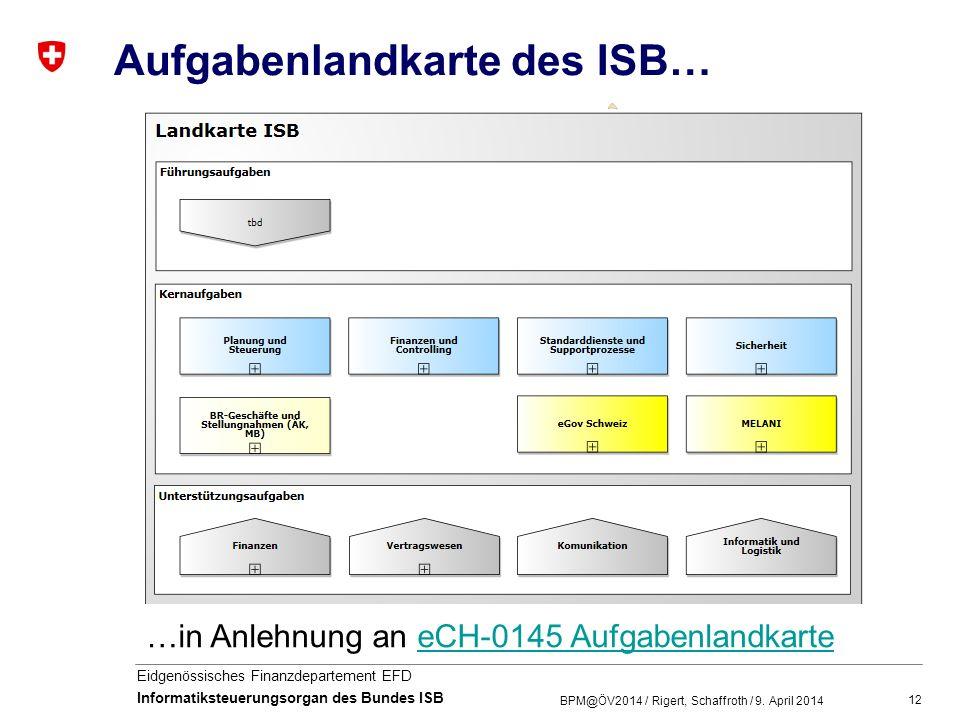 12 Eidgenössisches Finanzdepartement EFD Informatiksteuerungsorgan des Bundes ISB Aufgabenlandkarte des ISB… BPM@ÖV2014 / Rigert, Schaffroth / 9. Apri