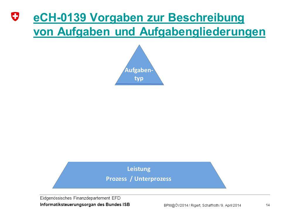 14 Eidgenössisches Finanzdepartement EFD Informatiksteuerungsorgan des Bundes ISB eCH-0139 Vorgaben zur Beschreibung von Aufgaben und Aufgabengliederu