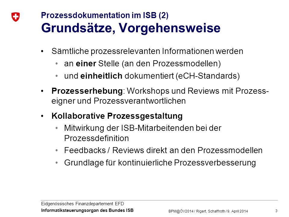 14 Eidgenössisches Finanzdepartement EFD Informatiksteuerungsorgan des Bundes ISB eCH-0139 Vorgaben zur Beschreibung von Aufgaben und Aufgabengliederungen BPM@ÖV2014 / Rigert, Schaffroth / 9.