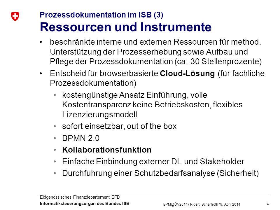 5 Eidgenössisches Finanzdepartement EFD Informatiksteuerungsorgan des Bundes ISB Prozessdokumentation im ISB (4) Rollen im Prozessmanagement Frühzeitige Festlegung der BPM-Rollen im ISB Unterscheidung der Linien- und Methodenverantwortung im Prozessmanagement (eCH-0143) Organisationshandbuch und Modellierungskonventionen ISB (in Arbeit) - 0143 Organisationshandbuch Prozessmanagement (optimiert für Gemeinden und Kantone) BPM@ÖV2014 / Rigert, Schaffroth / 9.