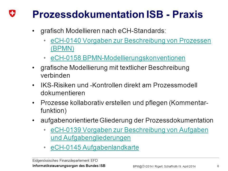 6 Eidgenössisches Finanzdepartement EFD Informatiksteuerungsorgan des Bundes ISB Prozessdokumentation ISB - Praxis grafisch Modellieren nach eCH-Stand