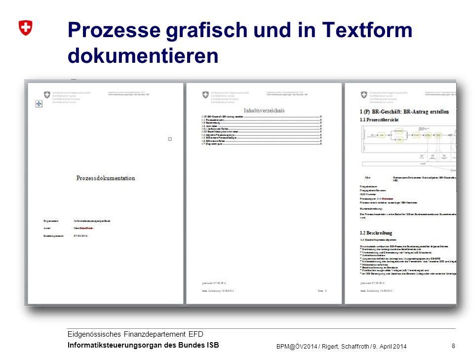 8 Eidgenössisches Finanzdepartement EFD Informatiksteuerungsorgan des Bundes ISB Prozesse grafisch und in Textform dokumentieren BPM@ÖV2014 / Rigert,