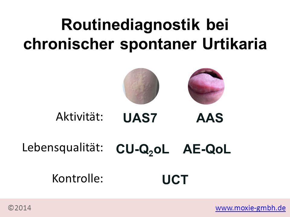 www.moxie-gmbh.de©2014 Urtikariakontrolltest (UCT) Aktivität: Lebensqualität: Kontrolle: UAS7 AAS CU-Q 2 oL AE-QoL UCT