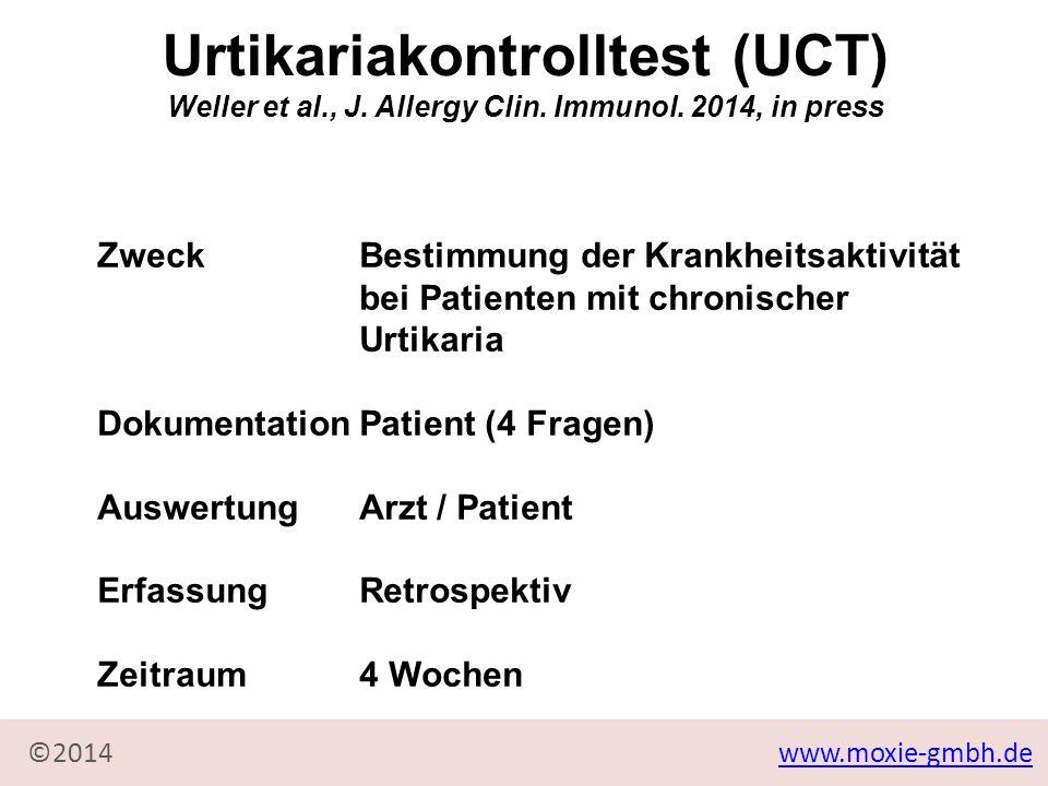 www.moxie-gmbh.de©2014 ZweckBestimmung der Krankheitsaktivität bei Patienten mit chronischer Urtikaria DokumentationPatient (4 Fragen) AuswertungArzt