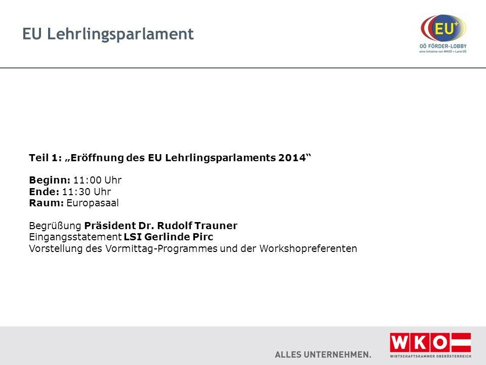 EU Lehrlingsparlament Teil 1: Eröffnung des EU Lehrlingsparlaments 2014 Beginn: 11:00 Uhr Ende: 11:30 Uhr Raum: Europasaal Begrüßung Präsident Dr. Rud