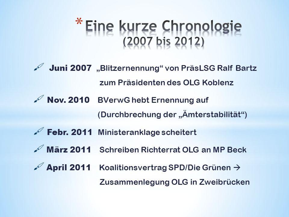 Juni 2007 Blitzernennung von PräsLSG Ralf Bartz zum Präsidenten des OLG Koblenz Nov. 2010 BVerwG hebt Ernennung auf (Durchbrechung der Ämterstabilität