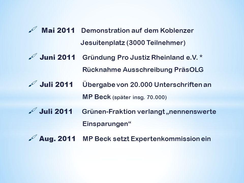 Mai 2011 Demonstration auf dem Koblenzer Jesuitenplatz (3000 Teilnehmer) Juni 2011 Gründung Pro Justiz Rheinland e.V. * Rücknahme Ausschreibung PräsOL