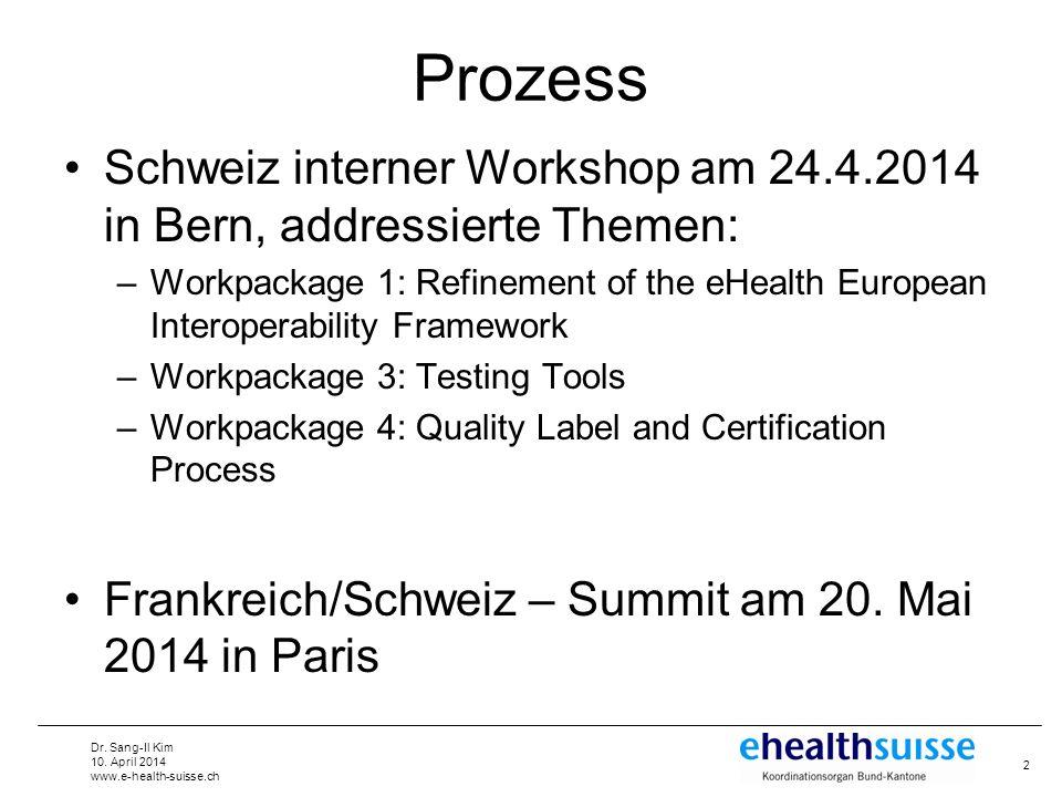 Dr. Sang-Il Kim 10. April 2014 www.e-health-suisse.ch Prozess Schweiz interner Workshop am 24.4.2014 in Bern, addressierte Themen: –Workpackage 1: Ref