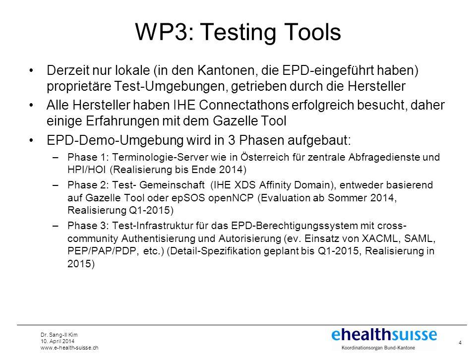 Dr. Sang-Il Kim 10. April 2014 www.e-health-suisse.ch WP3: Testing Tools Derzeit nur lokale (in den Kantonen, die EPD-eingeführt haben) proprietäre Te