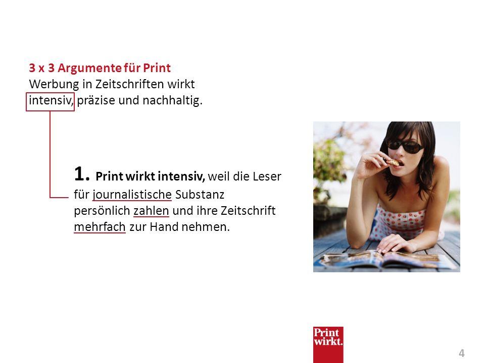 4 1. Print wirkt intensiv, weil die Leser für journalistische Substanz persönlich zahlen und ihre Zeitschrift mehrfach zur Hand nehmen. 3 x 3 Argument