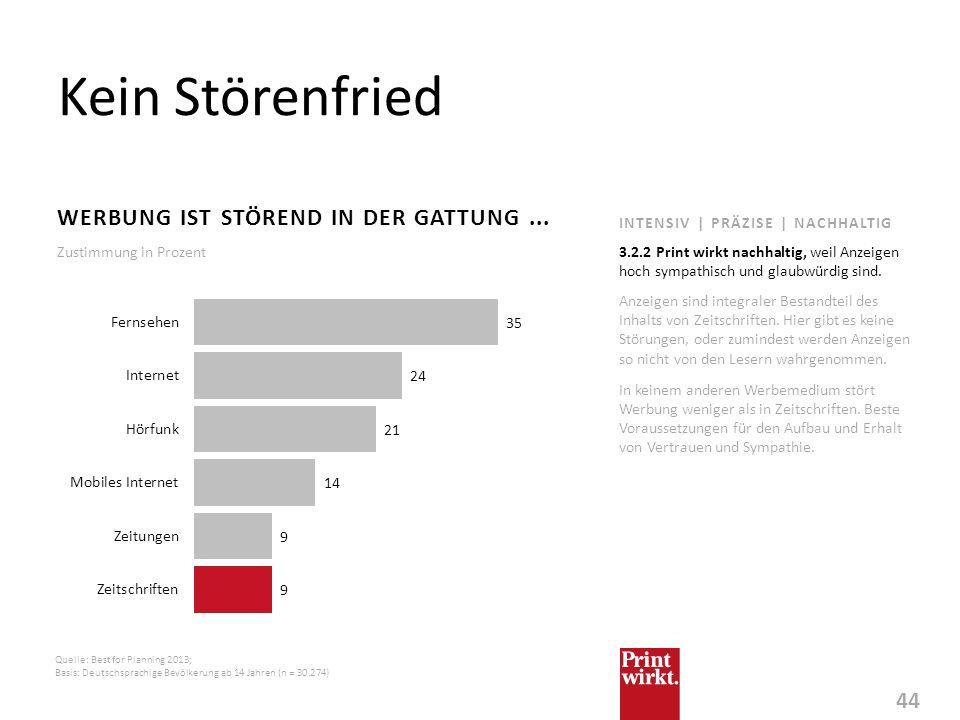 44 INTENSIV | PRÄZISE | NACHHALTIG Kein Störenfried WERBUNG IST STÖREND IN DER GATTUNG... Anzeigen sind integraler Bestandteil des Inhalts von Zeitsch