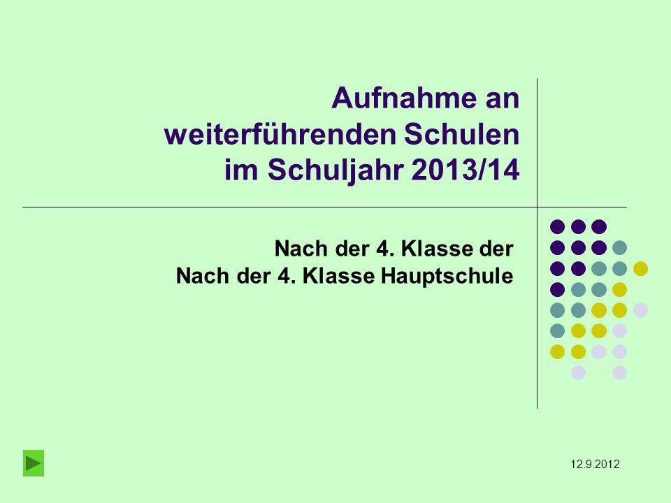 Aufnahme an weiterführenden Schulen im Schuljahr 2013/14 Nach der 4.