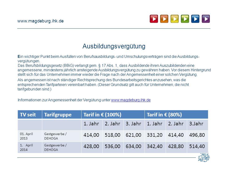 www.magdeburg.ihk.de Ausbildungsvergütung Ein wichtiger Punkt beim Ausfüllen von Berufsausbildungs- und Umschulungsverträgen sind die Ausbildungs- vergütungen.