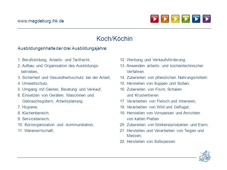 www.magdeburg.ihk.de Koch/Köchin Ausbildungsinhalte der drei Ausbildungsjahre: 1.