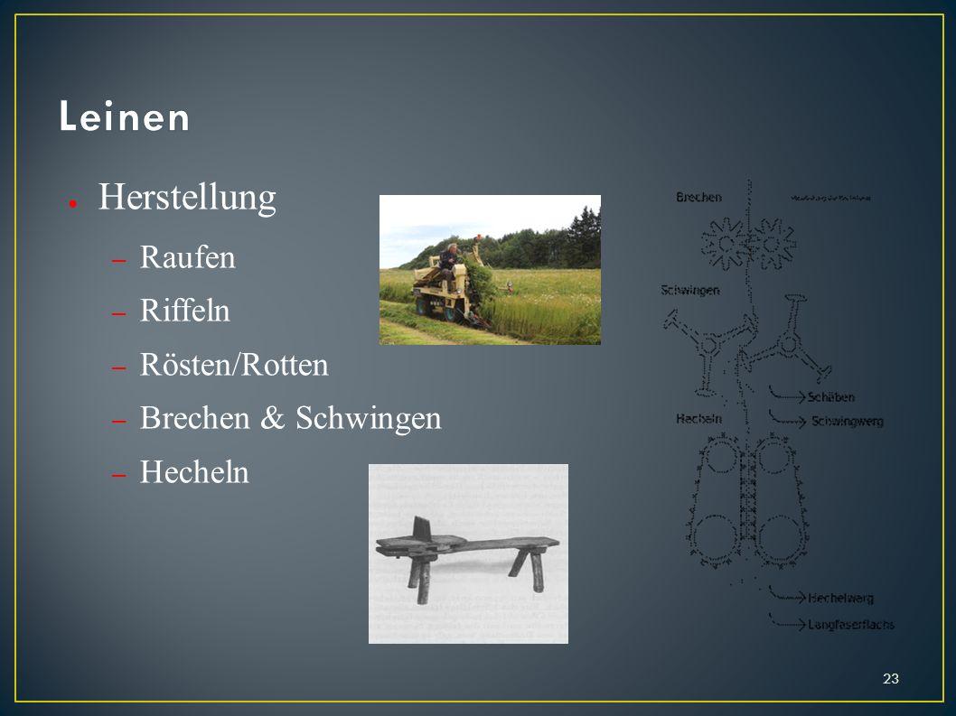 Herstellung – Raufen – Riffeln – Rösten/Rotten – Brechen & Schwingen – Hecheln 23