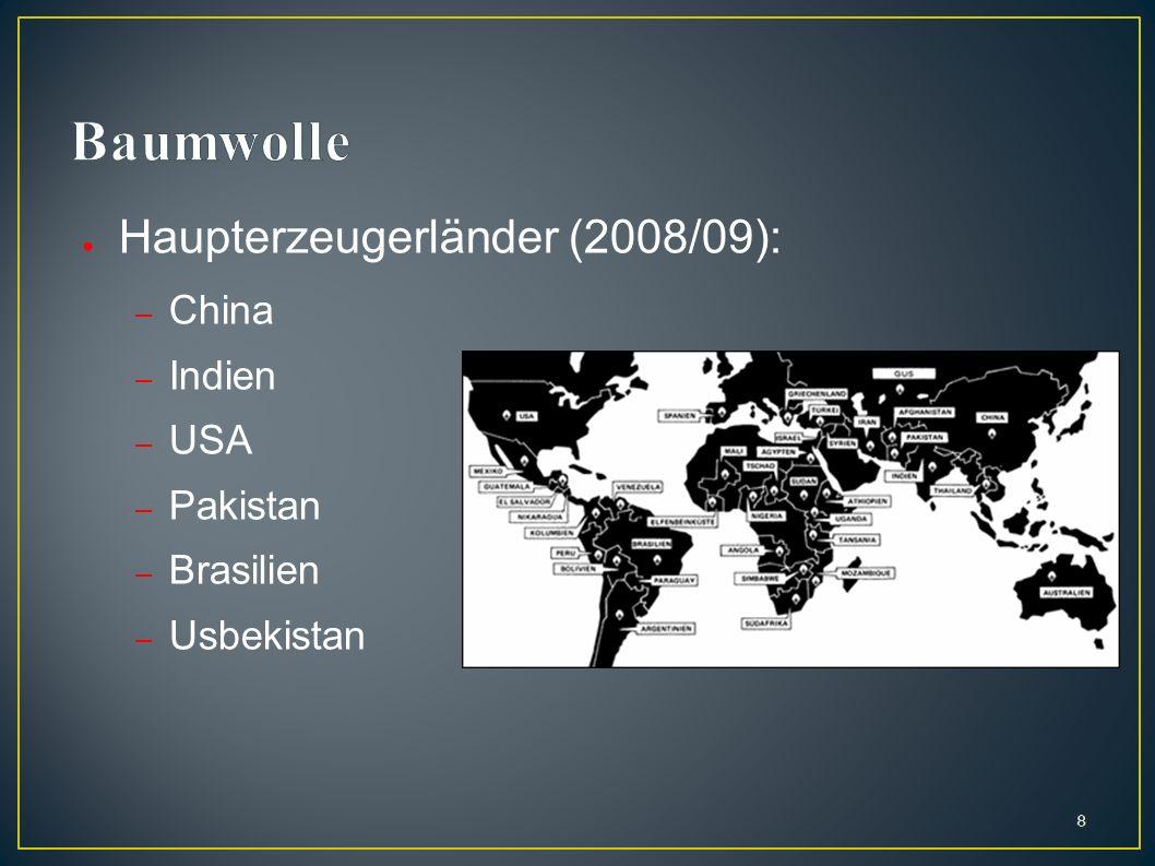 Haupterzeugerländer (2008/09): – China – Indien – USA – Pakistan – Brasilien – Usbekistan 8