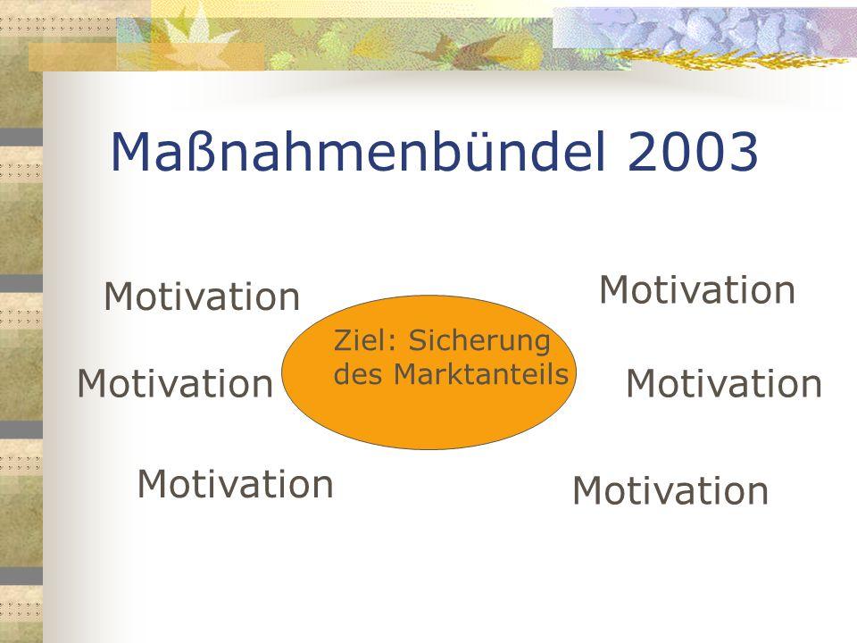 Maßnahmenbündel 2003 Ziel: Sicherung des Marktanteils Motivation