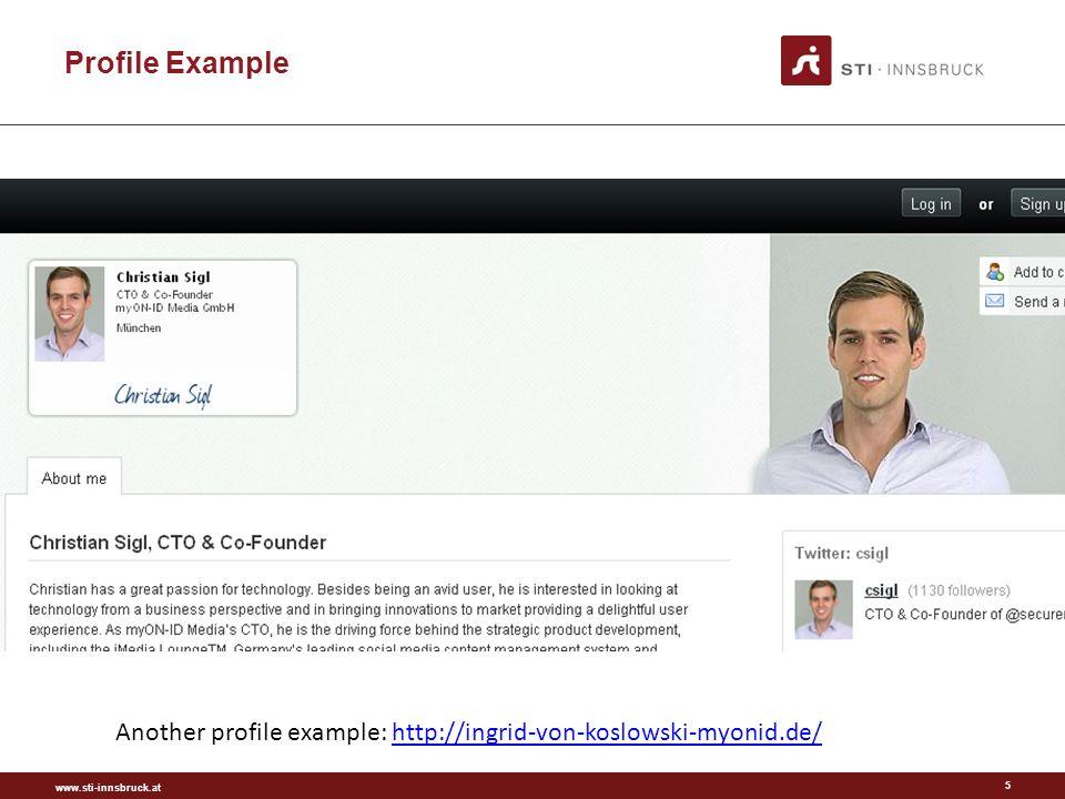 Profile Example 5 Another profile example: http://ingrid-von-koslowski-myonid.de/http://ingrid-von-koslowski-myonid.de/