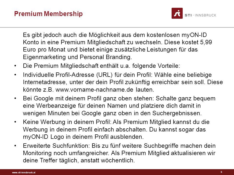 www.sti-innsbruck.at Premium Membership Es gibt jedoch auch die Möglichkeit aus dem kostenlosen myON-ID Konto in eine Premium Mitgliedschaft zu wechseln.