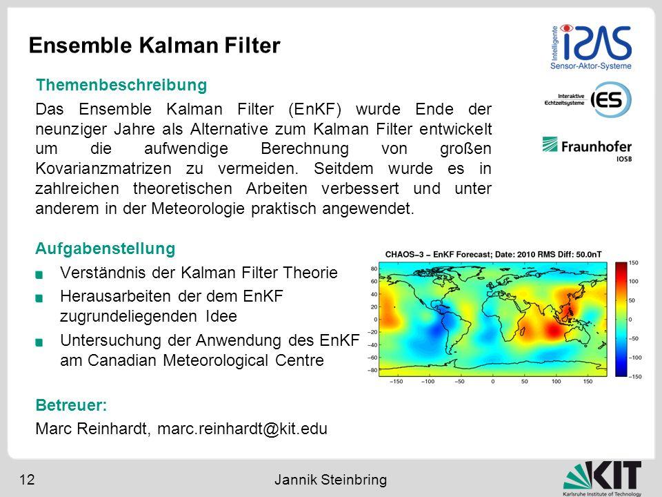 Ensemble Kalman Filter 12 Jannik Steinbring Aufgabenstellung Verständnis der Kalman Filter Theorie Herausarbeiten der dem EnKF zugrundeliegenden Idee