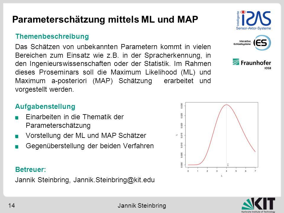 Parameterschätzung mittels ML und MAP 14 Jannik Steinbring Aufgabenstellung Einarbeiten in die Thematik der Parameterschätzung Vorstellung der ML und