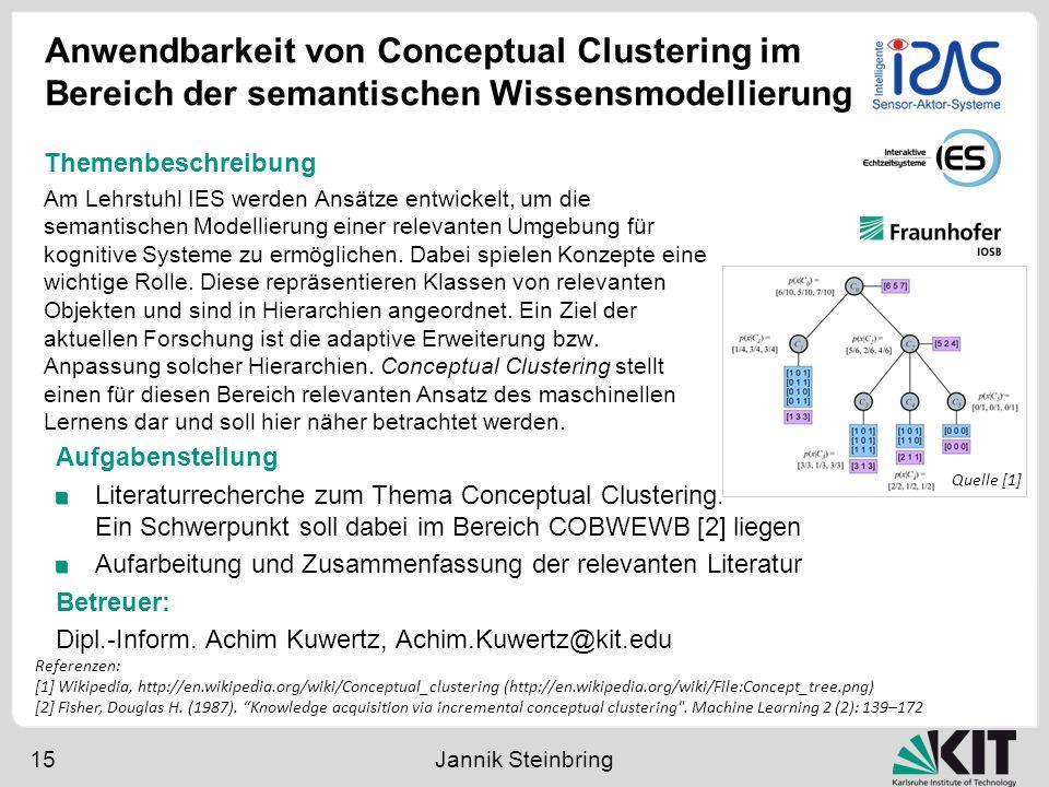 Anwendbarkeit von Conceptual Clustering im Bereich der semantischen Wissensmodellierung 15 Jannik Steinbring Aufgabenstellung Literaturrecherche zum T