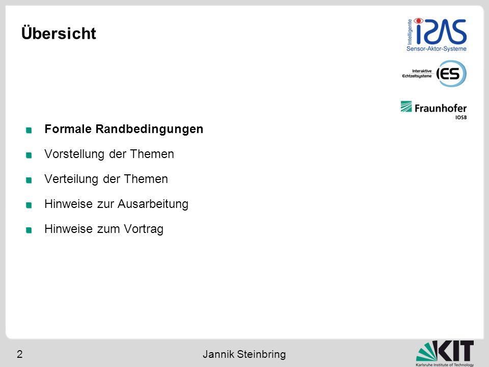 Übersicht 2 Jannik Steinbring Formale Randbedingungen Vorstellung der Themen Verteilung der Themen Hinweise zur Ausarbeitung Hinweise zum Vortrag