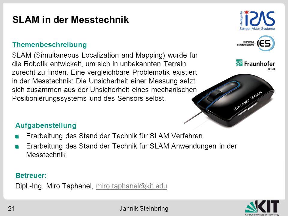 SLAM in der Messtechnik 21 Jannik Steinbring Aufgabenstellung Erarbeitung des Stand der Technik für SLAM Verfahren Erarbeitung des Stand der Technik f