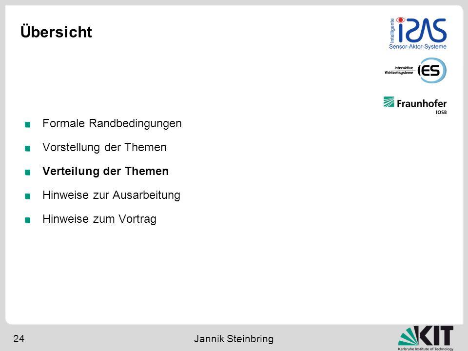 Übersicht 24 Jannik Steinbring Formale Randbedingungen Vorstellung der Themen Verteilung der Themen Hinweise zur Ausarbeitung Hinweise zum Vortrag