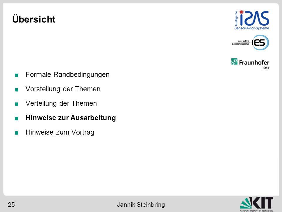 Übersicht 25 Jannik Steinbring Formale Randbedingungen Vorstellung der Themen Verteilung der Themen Hinweise zur Ausarbeitung Hinweise zum Vortrag