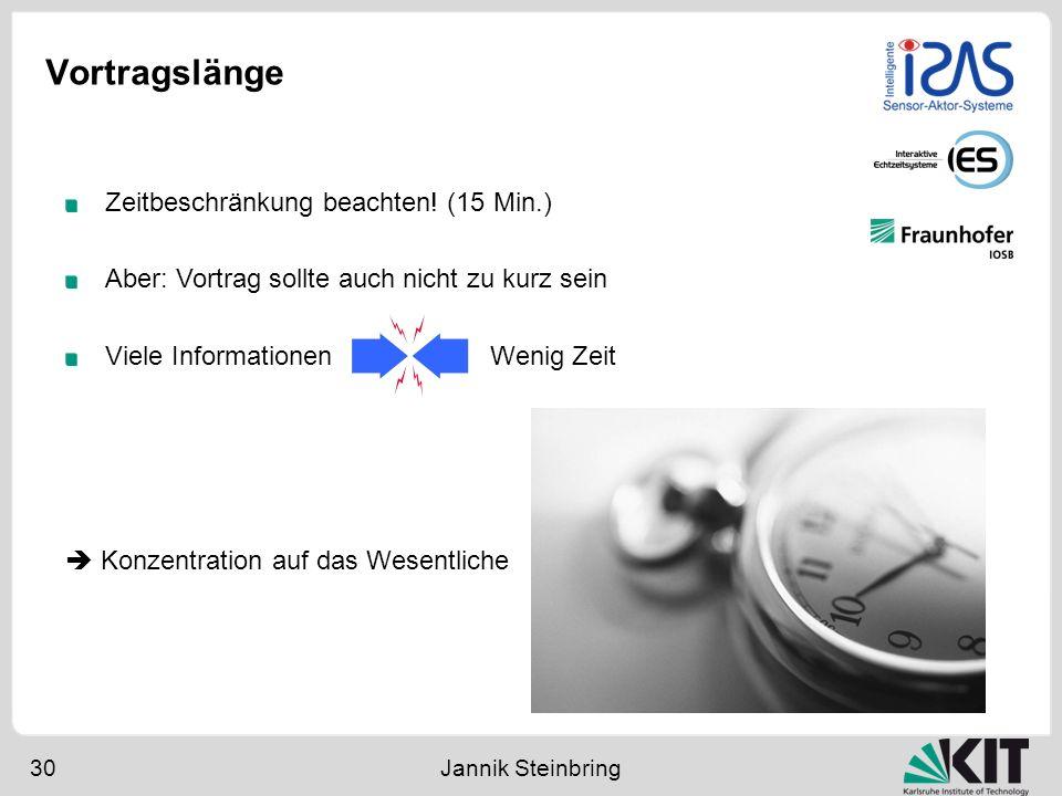 Vortragslänge 30 Jannik Steinbring Zeitbeschränkung beachten! (15 Min.) Aber: Vortrag sollte auch nicht zu kurz sein Viele Informationen Wenig Zeit Ko