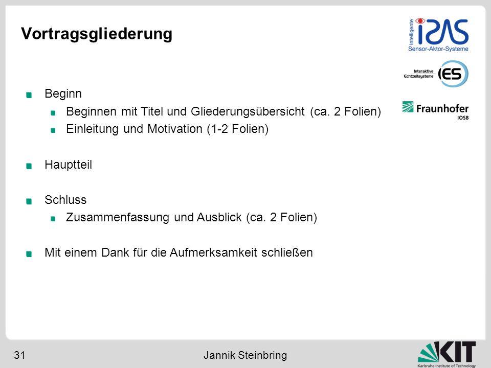 Vortragsgliederung 31 Jannik Steinbring Beginn Beginnen mit Titel und Gliederungsübersicht (ca. 2 Folien) Einleitung und Motivation (1-2 Folien) Haupt