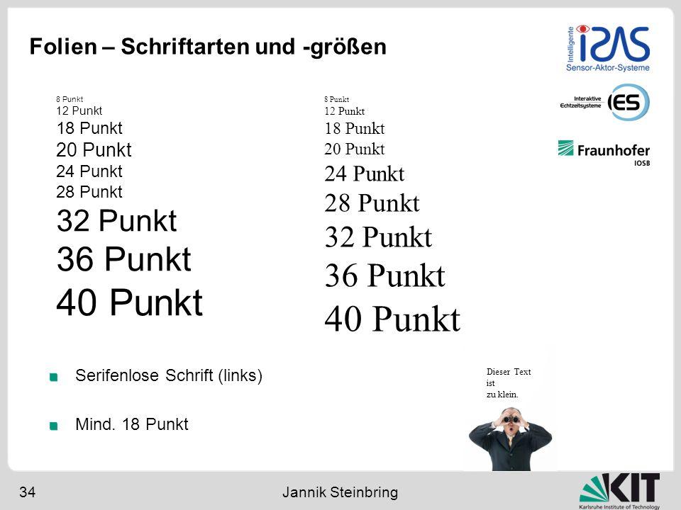Folien – Schriftarten und -größen 34 Jannik Steinbring 8 Punkt 12 Punkt 18 Punkt 20 Punkt 24 Punkt 28 Punkt 32 Punkt 36 Punkt 40 Punkt 8 Punkt 12 Punk
