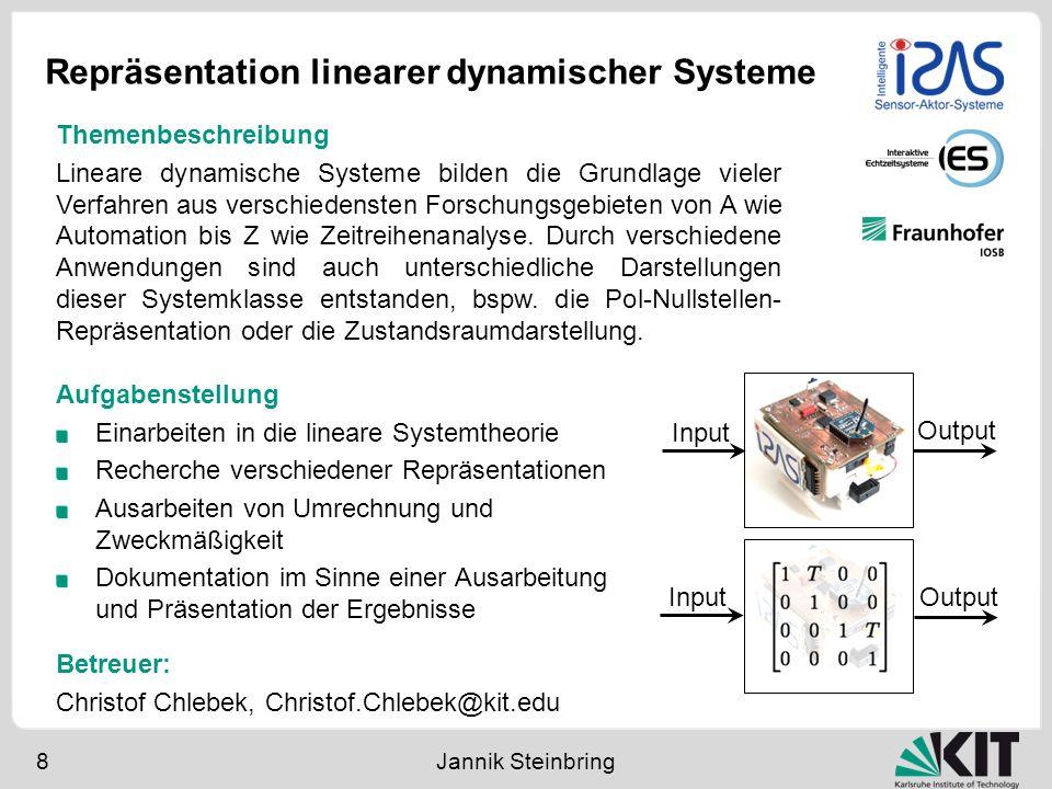 Repräsentation linearer dynamischer Systeme 8 Jannik Steinbring Aufgabenstellung Einarbeiten in die lineare Systemtheorie Recherche verschiedener Repr