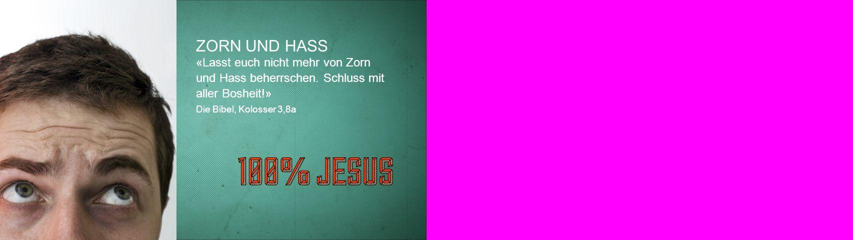 ZORN UND HASS «Lasst euch nicht mehr von Zorn und Hass beherrschen. Schluss mit aller Bosheit!» Die Bibel, Kolosser 3,8a