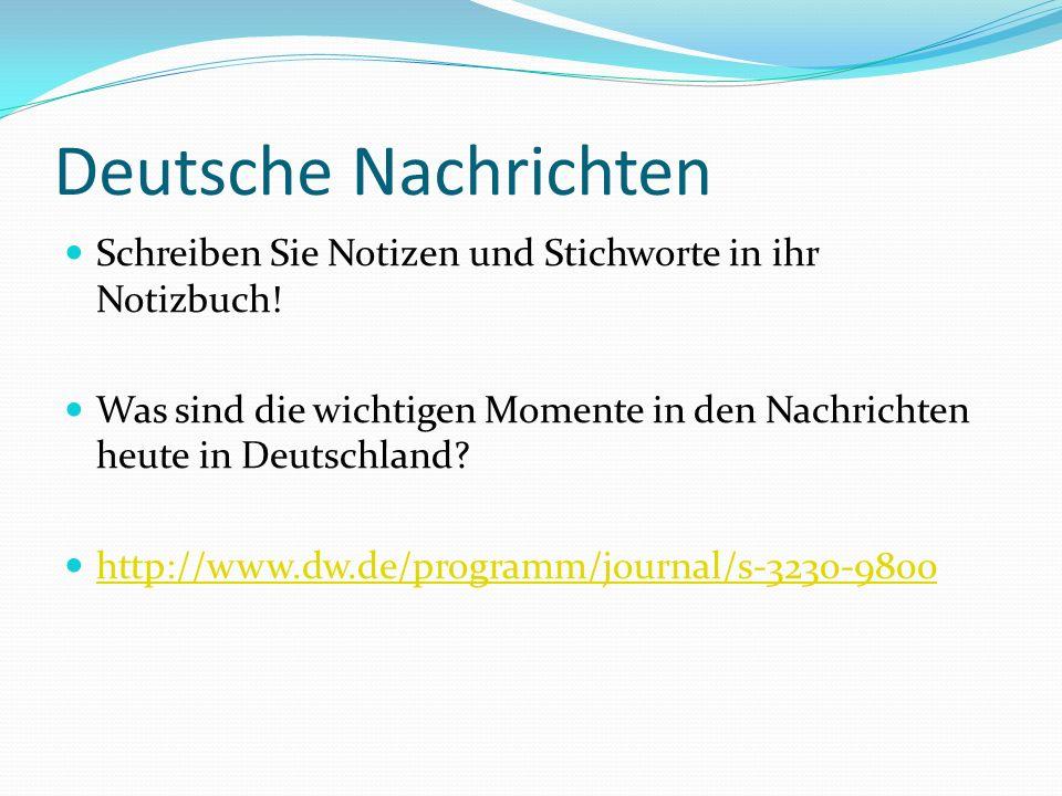 Deutsche Nachrichten Schreiben Sie Notizen und Stichworte in ihr Notizbuch.