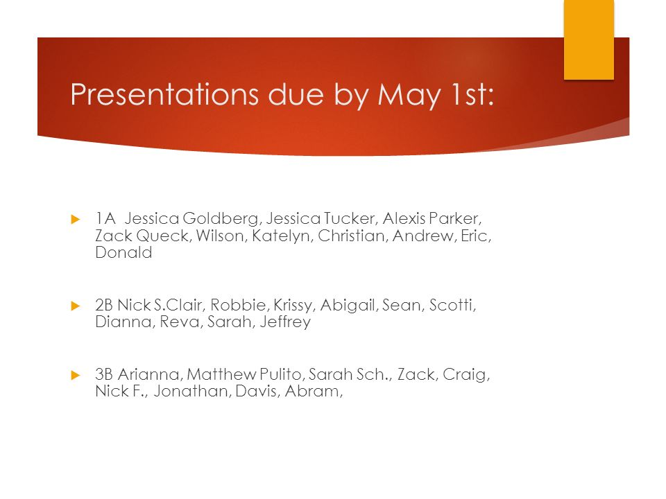 Presentations due by May 1st: 1A Jessica Goldberg, Jessica Tucker, Alexis Parker, Zack Queck, Wilson, Katelyn, Christian, Andrew, Eric, Donald 2B Nick