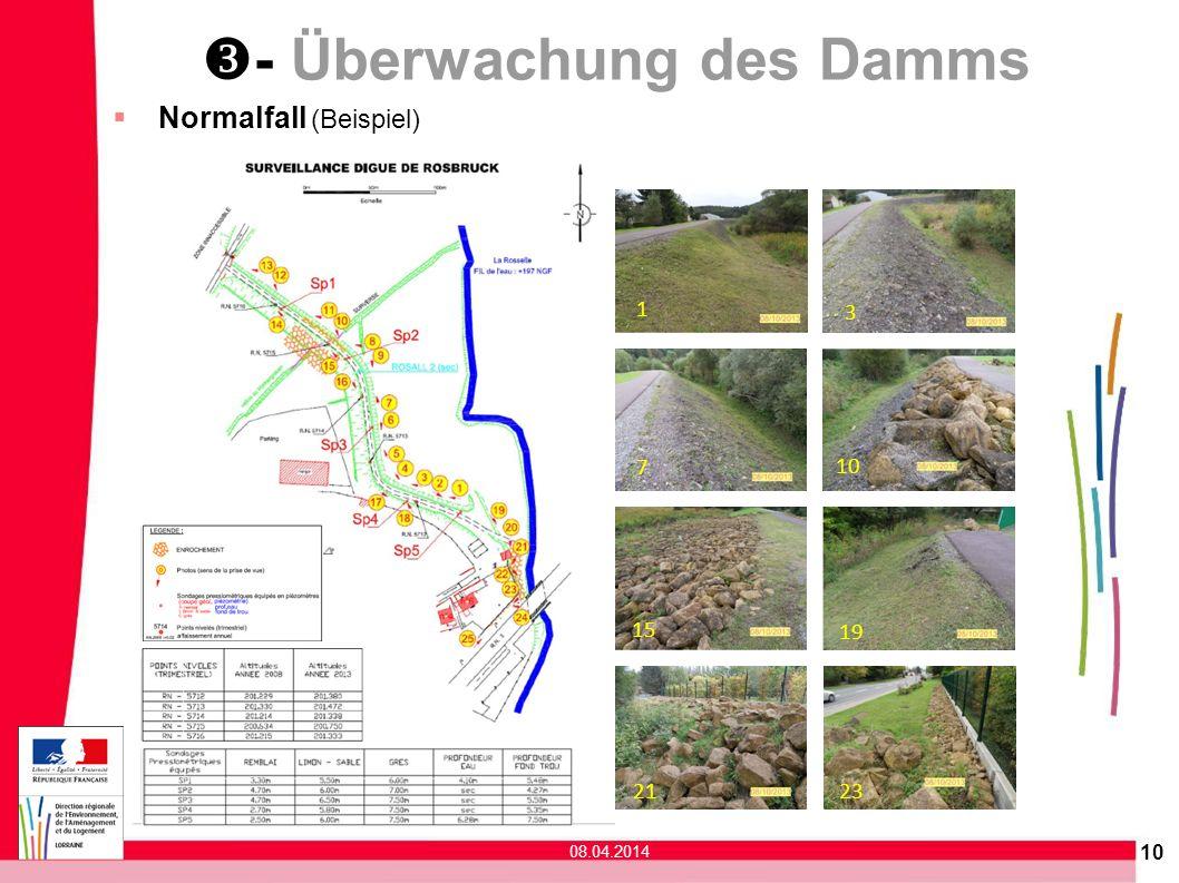 - Überwachung des Damms 1 3 10 7 19 15 21 23 Normalfall (Beispiel) 10 08.04.2014