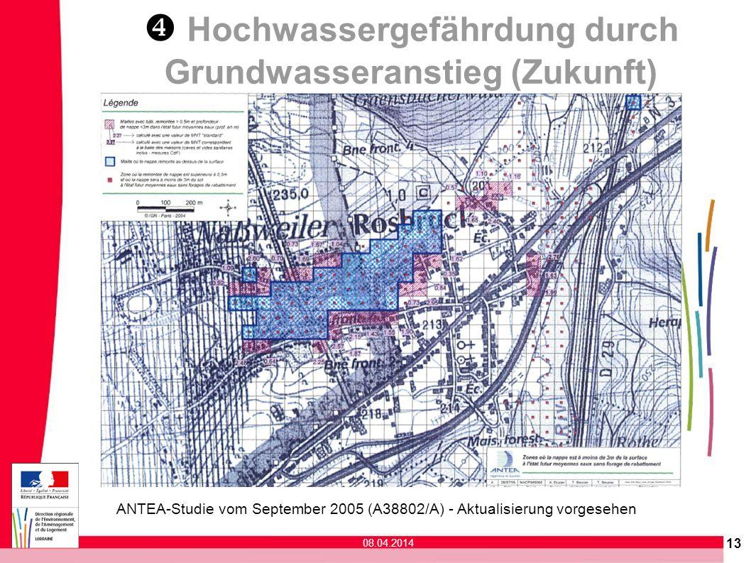 ANTEA-Studie vom September 2005 (A38802/A) - Aktualisierung vorgesehen 13 08.04.2014 Hochwassergefährdung durch Grundwasseranstieg (Zukunft)