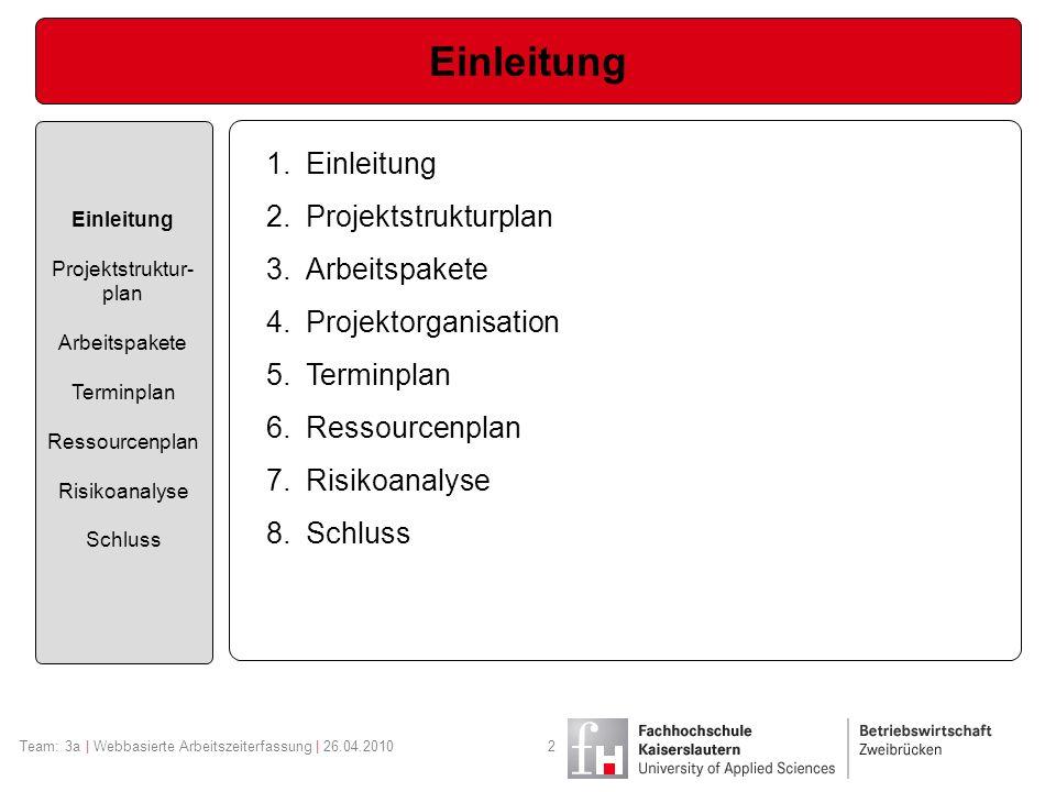 Team: 3a | Webbasierte Arbeitszeiterfassung | 26.04.20102 Einleitung Projektstruktur- plan Arbeitspakete Terminplan Ressourcenplan Risikoanalyse Schlu