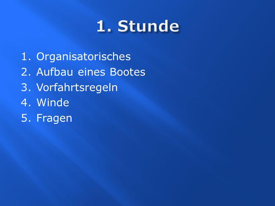 1.Stunde Organisatorisches Spezielle Wünsche Aufbau eines Bootes Winde Manöver Knoten Fragen 2.