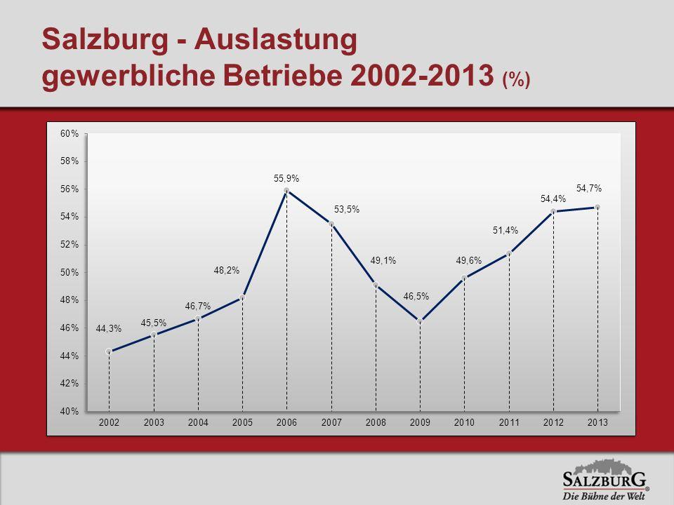 Salzburg - Auslastung gewerbliche Betriebe 2002-2013 (%)
