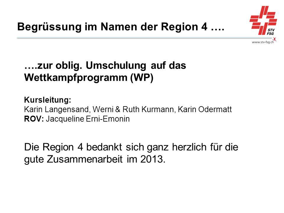 Begrüssung im Namen der Region 4 …. ….zur oblig. Umschulung auf das Wettkampfprogramm (WP) Kursleitung: Karin Langensand, Werni & Ruth Kurmann, Karin