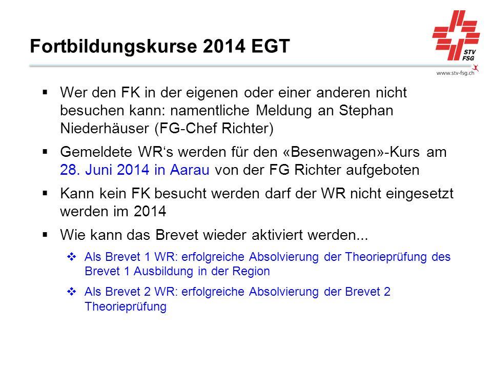 Fortbildungskurse 2014 EGT Wer den FK in der eigenen oder einer anderen nicht besuchen kann: namentliche Meldung an Stephan Niederhäuser (FG-Chef Richter) Gemeldete WRs werden für den «Besenwagen»-Kurs am 28.