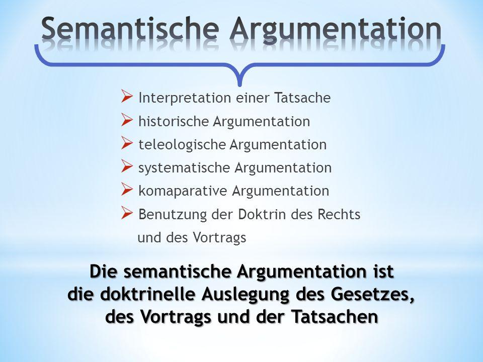 Interpretation einer Tatsache historische Argumentation teleologische Argumentation systematische Argumentation komaparative Argumentation Benutzung d