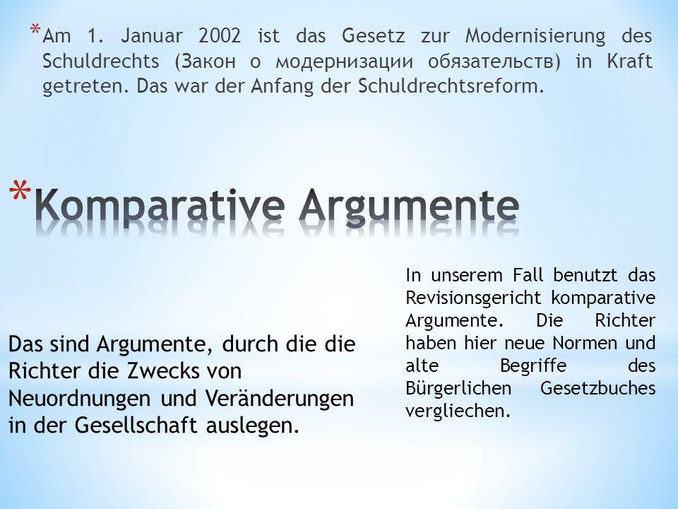 * Am 1. Januar 2002 ist das Gesetz zur Modernisierung des Schuldrechts (Закон о модернизации обязательств) in Kraft getreten. Das war der Anfang der S